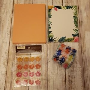 Tropical cards, stickers and ribbon